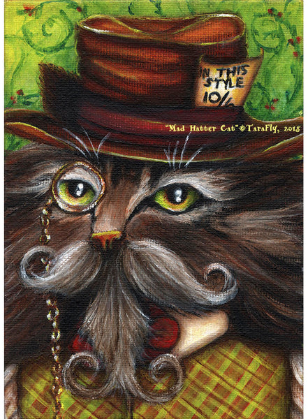 ON SALE Mad Hatter Cat Magnet, Alice in Wonderland Fantasy Cat Art Fridge Magnet