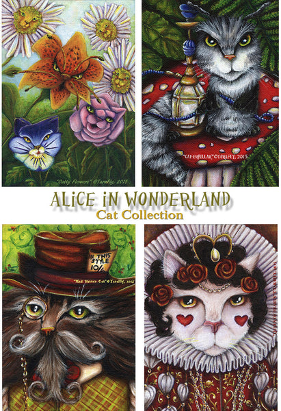 ON SALE Flower Cat Garden, Though the Looking Glass Alice in Wonderland Cat Art