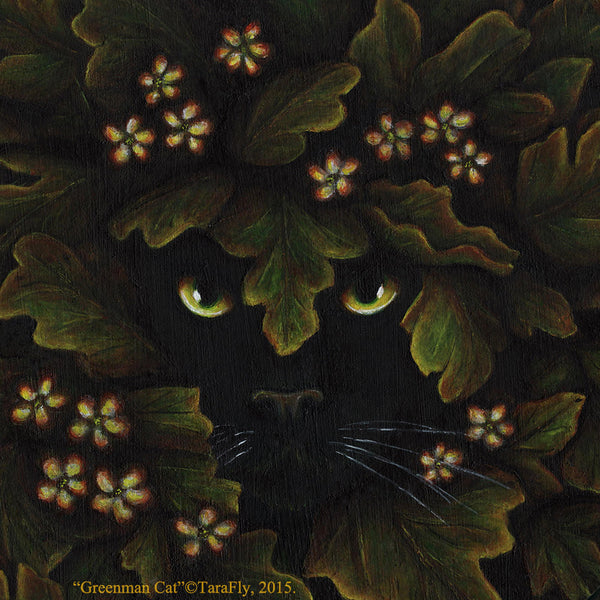 ON SALE Greenman Cat Art Magnet Black Feline Spirit of the Forest