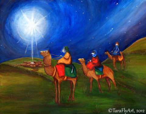 Three Wise Men following Star Bethelehem art by TaraFly