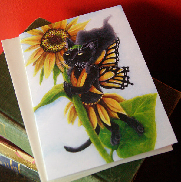 Sunflower Fairy Black Cat Art Greeting Card
