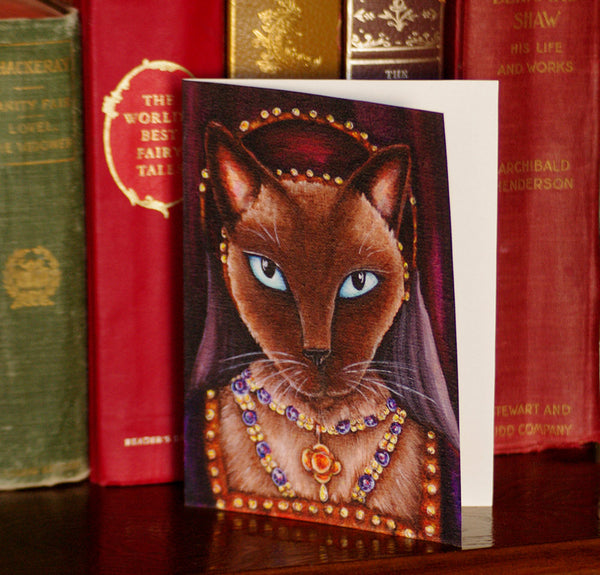 ON SALE Tudor Cat Card, Catherine Howard Siamese Cat 5x7 Greeting Card
