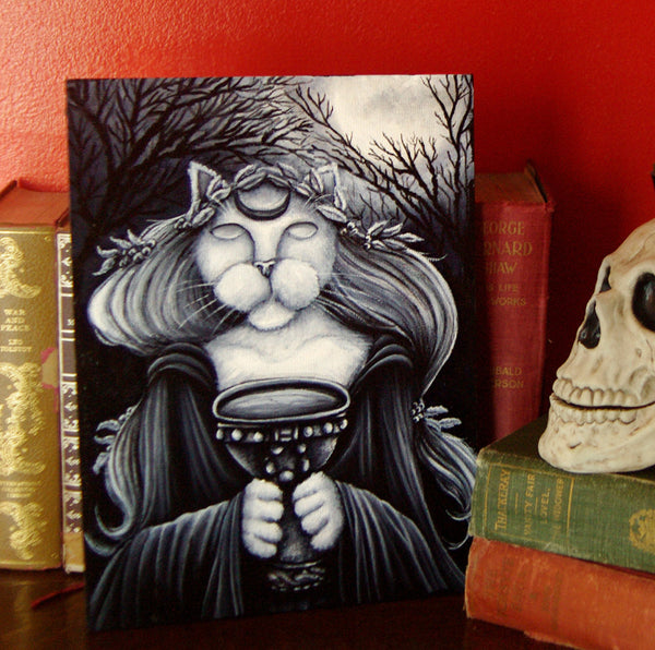 Druid Priestess Cat painting books and skull