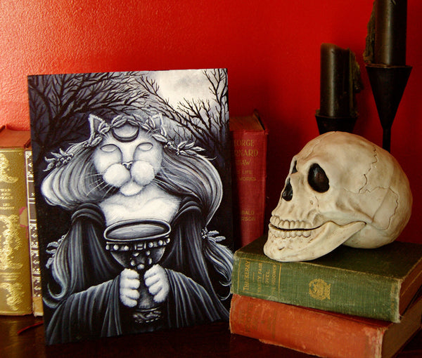 Druid Priestess cat art skull black candles books