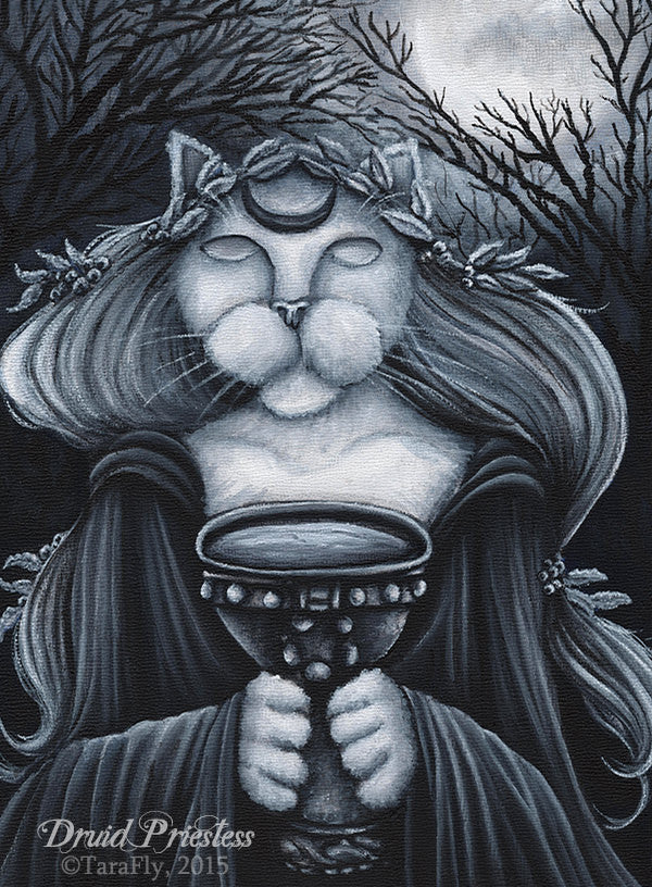 Druid Priestess Cat Art Original Painting by Tara Fly