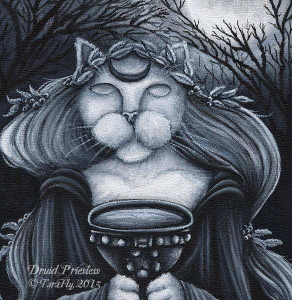 Druid Priestess Cat Artwork by cat artist Tara Fly