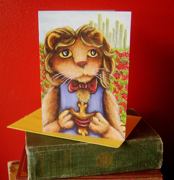 ON SALE Cowardly Lion, Wizard of Oz Art, 5x7 Blank Greeting Card
