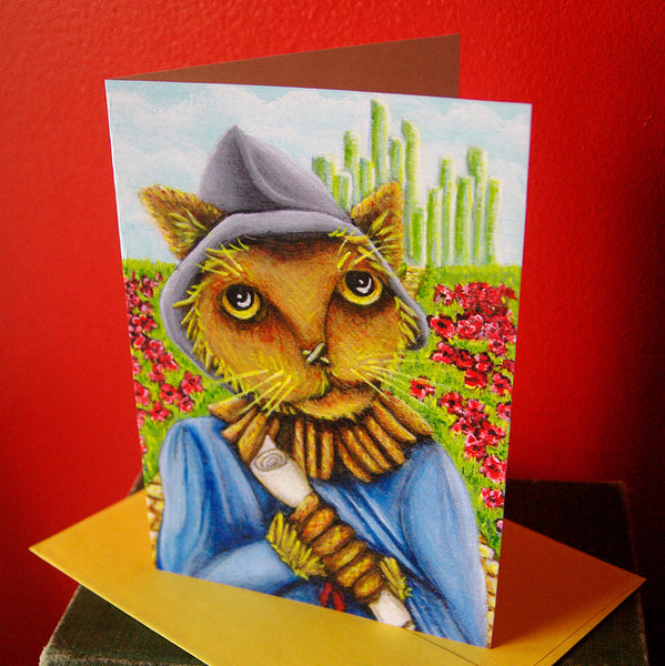 ON SALE Scarecrow Cat, Wizard of Oz, Cat Art 5x7 Blank Greeting Card