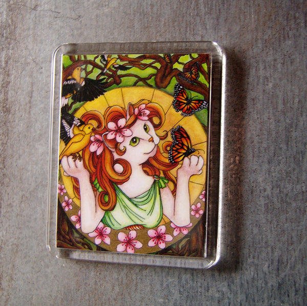 ON SALE Flower Cat Magnet, Spring Art Nouveau Fantasy Cat Art Fridge Magnet