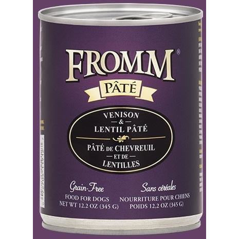 Fromm Pate - Grain Free Venison & Lentil - Canned Dog Food - 12.2 Oz., Case of 12