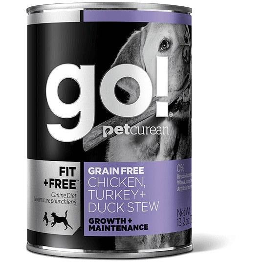 Go! Fit + Free - Grain-Free Chicken, Turkey, And Duck Stew - Canned Dog Food - 13.2 oz., Case of 12