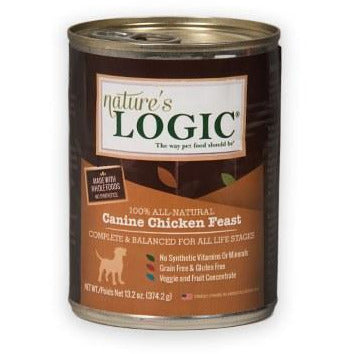 Nature's Logic - Canine Chicken Feast - Canned Dog Food - 13.2 oz., Case of 12