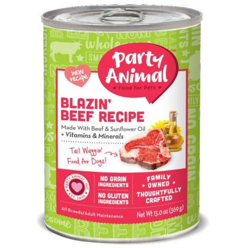 Party Animal - Blazin' Beef Recipe - Canned Dog Food - 13 Oz., Case of 12