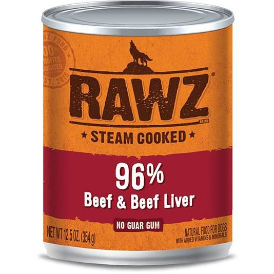 Rawz - 96% Beef & Beef Liver - Canned Dog Food - 12.5 oz., Case of 12