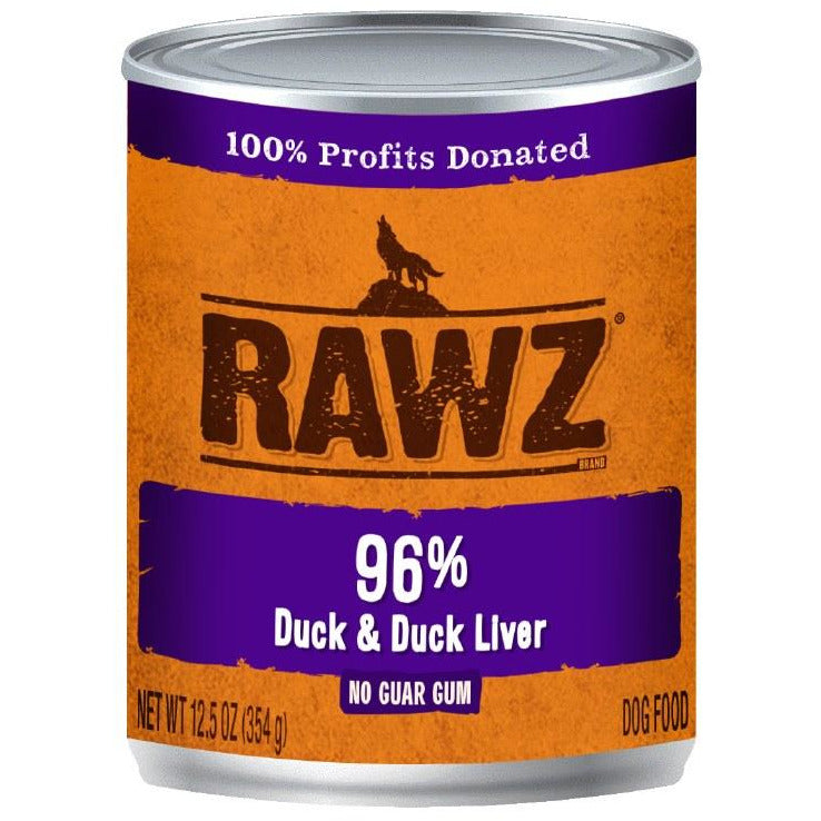 Rawz - 96% Duck & Duck Liver - Canned Dog Food - 12.5 Oz., Case of 12