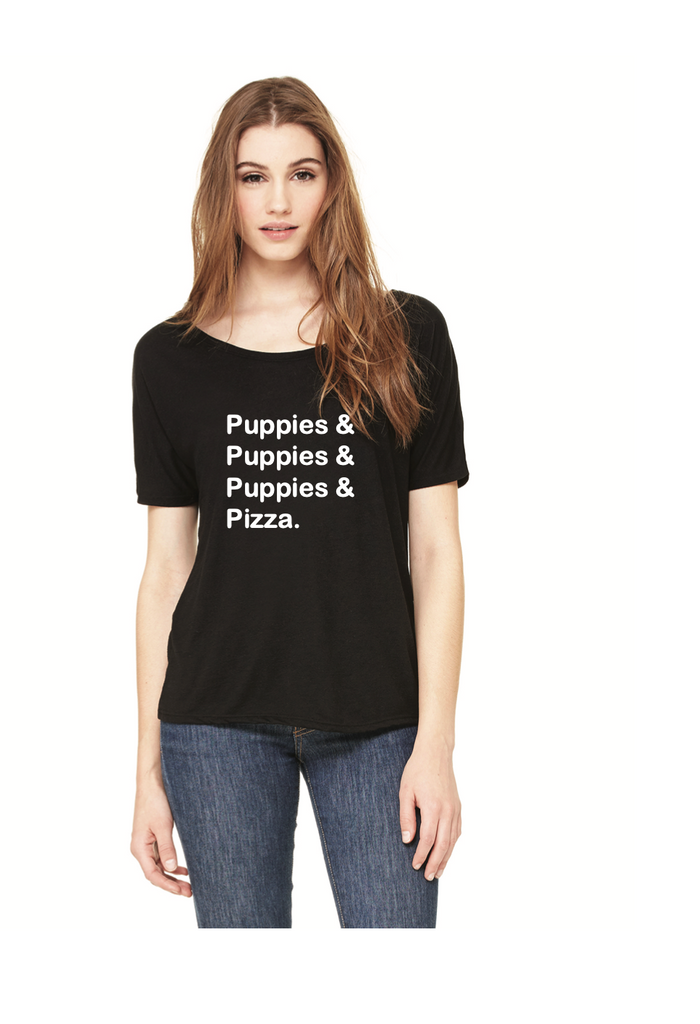 Puppies Puppies Puppies Pizza T-Shirt - Womens