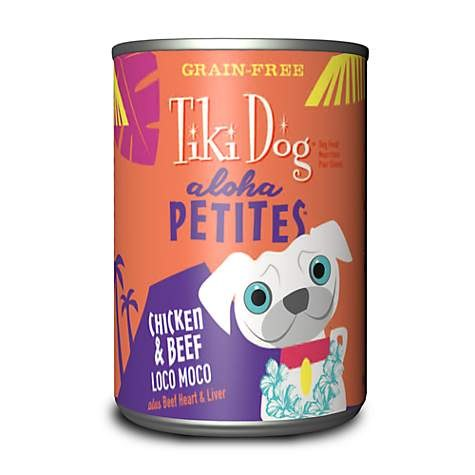 Tiki Dog Aloha Petites - Chicken & Beef Loco Moco - Canned Dog Food - 3.5 Oz. & 9 Oz., Case of 12