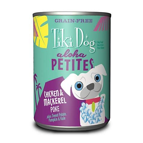 Tiki Dog Aloha Petites - Chicken & Mackerel Poke - Canned Dog Food - 3.5 Oz. & 9 Oz., Case of 12