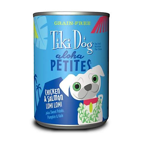 Tiki Dog Aloha Petites - Chicken & Salmon Lomi Lomi - Canned Dog Food - 3.5 Oz. & 9 Oz., Case of 12