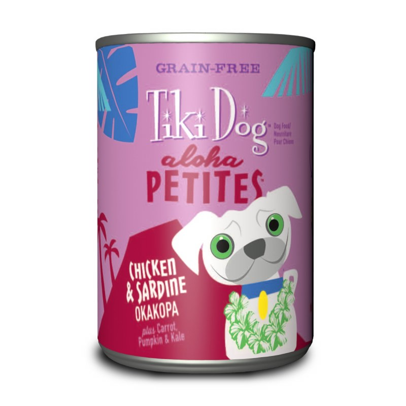Tiki Dog Aloha Petites - Chicken & Sardine Okakopa - Canned Dog Food - 3.5 Oz. & 9 Oz., Case of 12