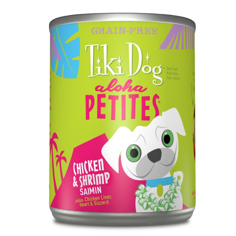 Tiki Dog Aloha Petites - Chicken & Shrimp Saimin - Canned Dog Food - 3.5 Oz. & 9 Oz., Case of 12