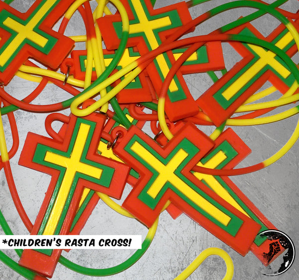 Children's Rasta Cross Rubber Necklace