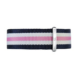 18mm navy blue white pink nylon nato strap silver Buckle Watch Band Strap Women's