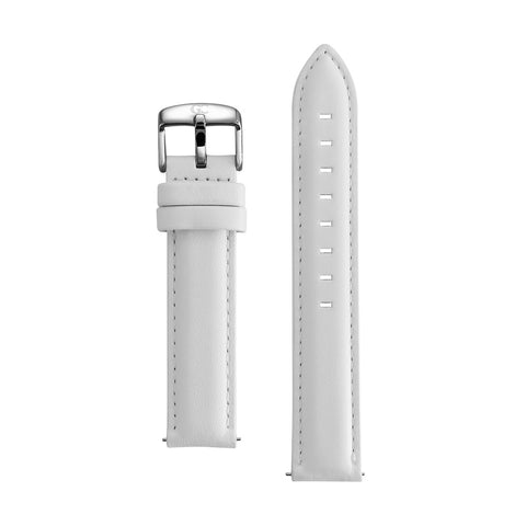 18mm white leather silver Buckle Watch Band Strap Women's
