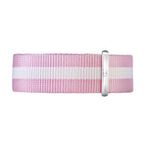 18mm white pink nylon nato strap silver Buckle Watch Band Strap Women's