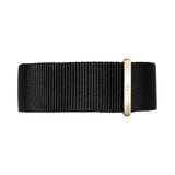 20mm Black Nylon Nato Rose Gold Buckle Watch Band Strap Men's