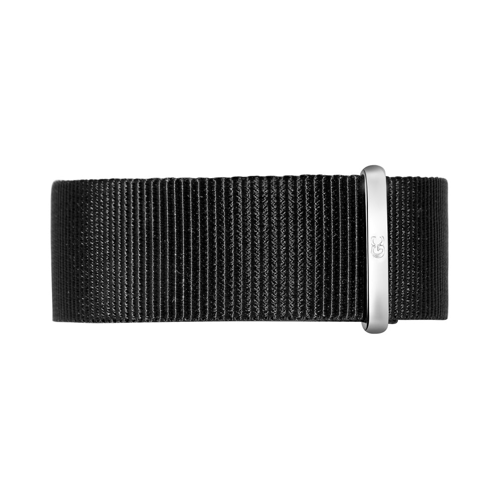 20mm Black Nylon Nato Silver Buckle Watch Band Strap Men's