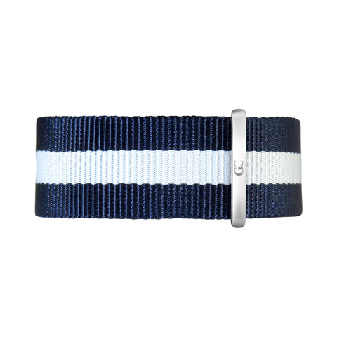20mm Navy Blue White Nylon Nato Silver Buckle Watch Band Strap Men's