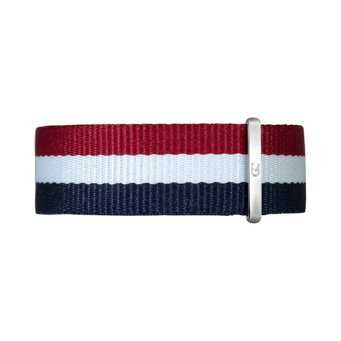 20mm Navy Blue White Red Nylon Nato Silver Buckle Watch Band Strap Men's