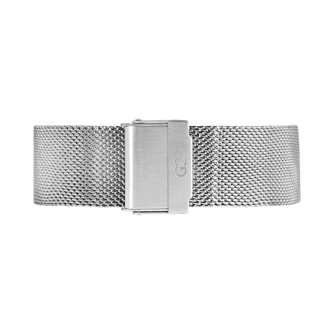 20mm silver mesh Buckle Watch Band Strap Men's