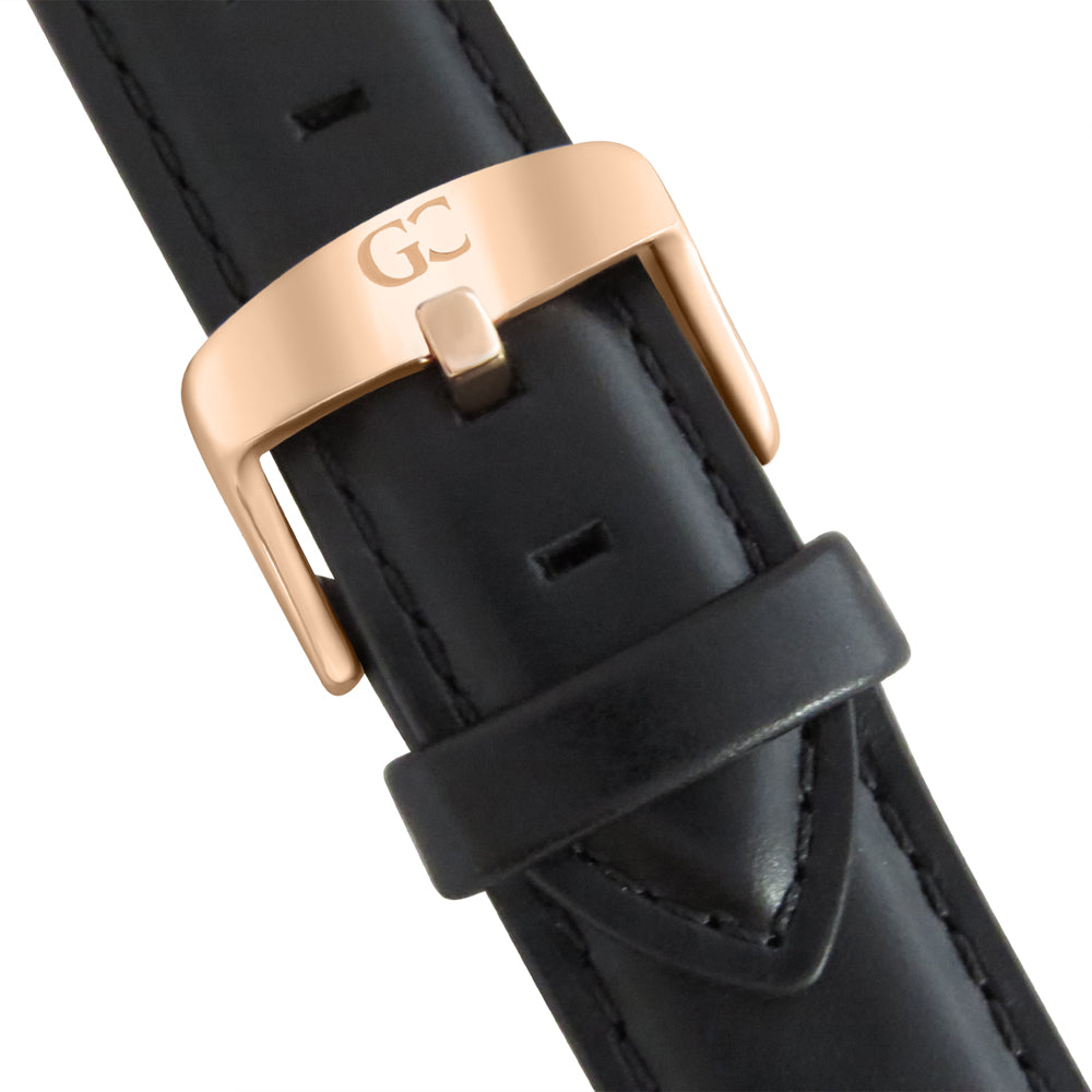 36mm Hester TL13645 Peach Rose Gold Black Leather Strap Women's Watch