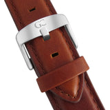 40mm Concord TL14007 White Silver Medium Brown Leather Men's Watch