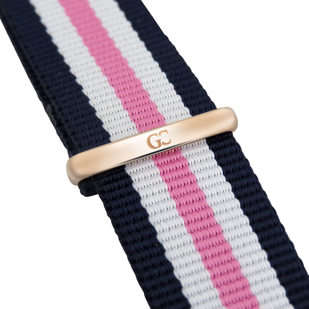 36mm Morris TL13624 White Rose Gold Pink White Navy Blue Mesh Nylon Nato Strap Women's Watch