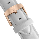 36mm Catherine TL13620 White Silver Rose Gold Leather Women's Watch