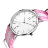 36mm Albany TL13625 White Silver Pink White Mesh Nylon Nato Strap Women's Watch