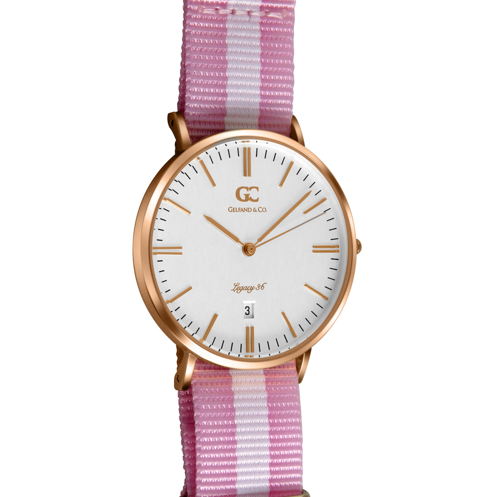 36mm Albany TL13626 White Rose Gold Pink White Mesh Nylon Nato Strap Women's Watch
