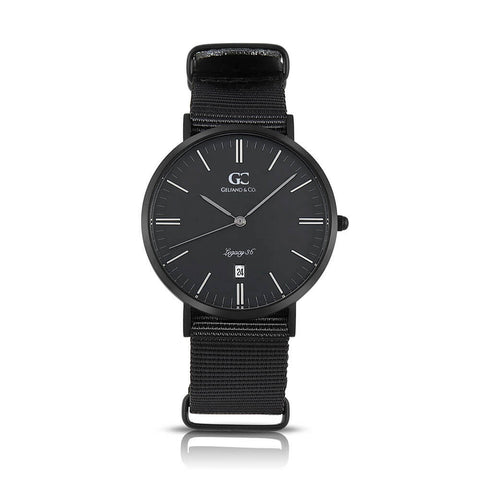36mm Amsterdam TL13677 Black Black Black Nylon Nato Strap Band Women's Watch