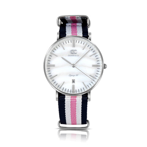 36mm Bayard TL13641 White Pearl Silver Navy Blue Pink White Nylon Nato Band Strap Women's Watch