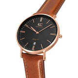 36mm Bedford TL13664 Black Rose Gold Brown Leather Strap Women's Watch
