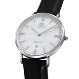 36mm Cedar TL13627 White Pearl Silver Black Leather Women's Watch