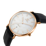 36mm Cedar TL13628 White Pearl Rose Gold Black Leather Women's Watch
