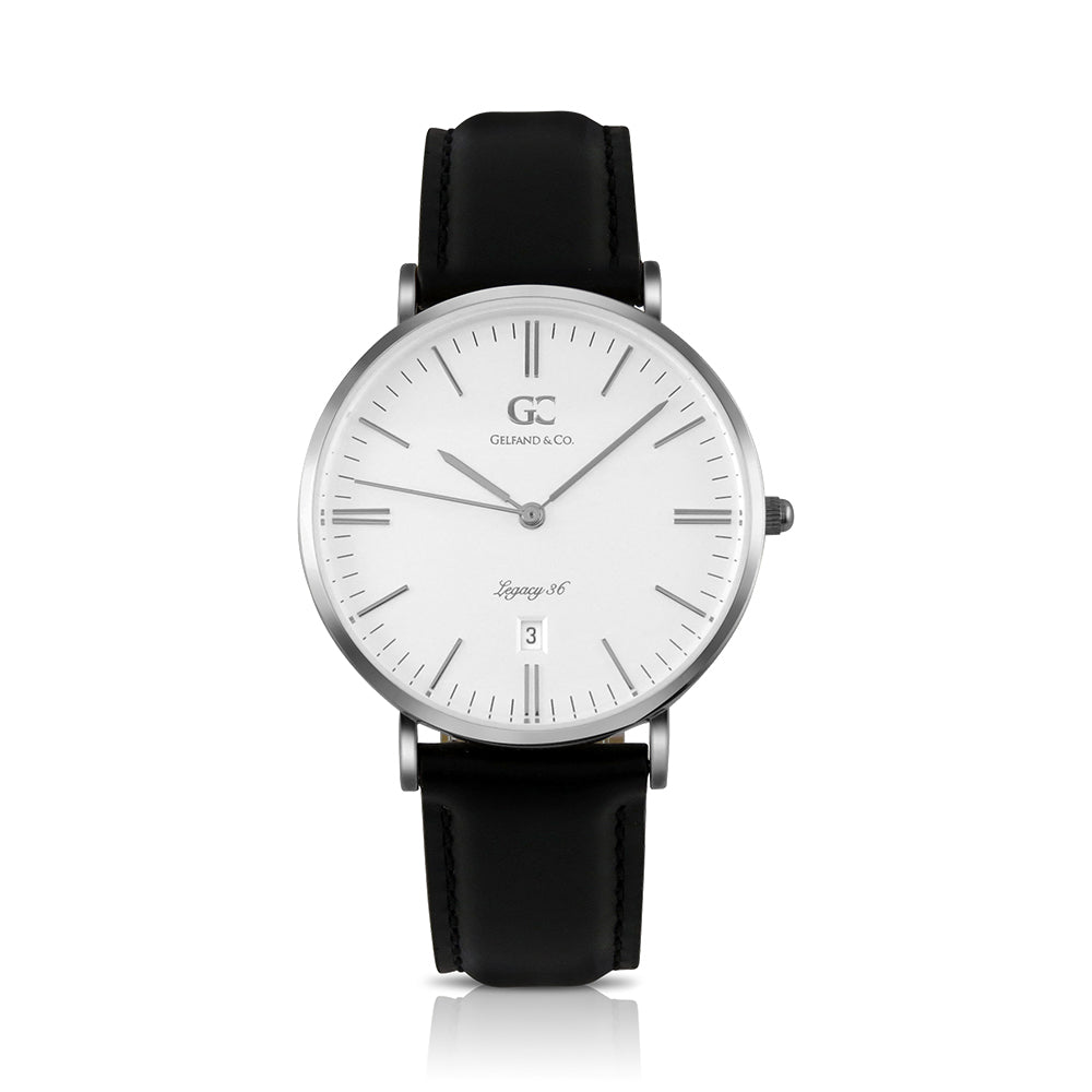 36mm Chelsea TL13601 White Silver Black Leather Women's Watch