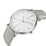 36mm Chrystie TL13615 White Silver Light Gray Leather Women's Watch