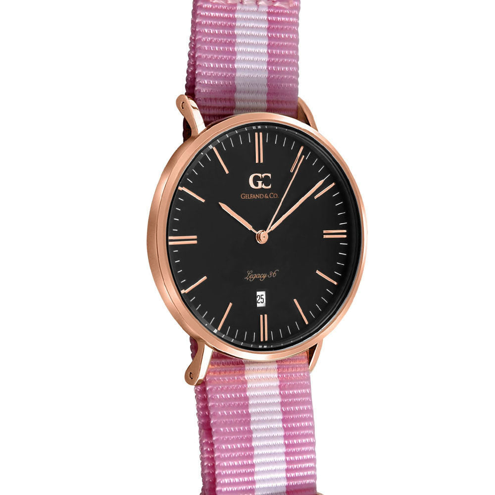 36mm Cornelia TL13672 Black Rose Gold White Pink Nylon Nato Strap Band Women's Watch