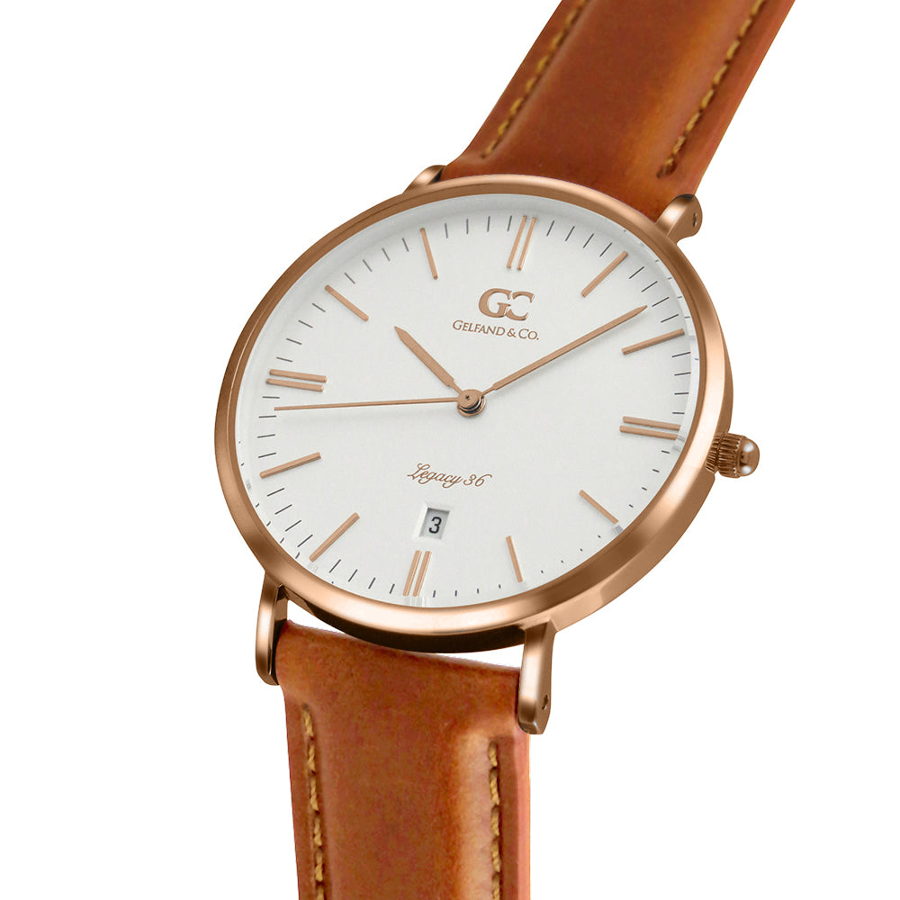 36mm Delancy TL13606 White Rose Gold Light Brown Leather Women's Watch -1