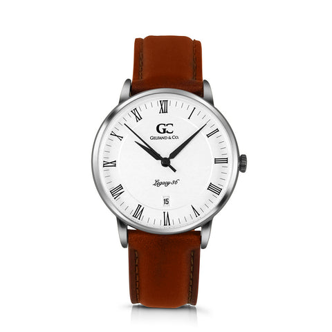 36mm Gansevoort RN13607 White Silver Medium Brown Leather Women's Watch